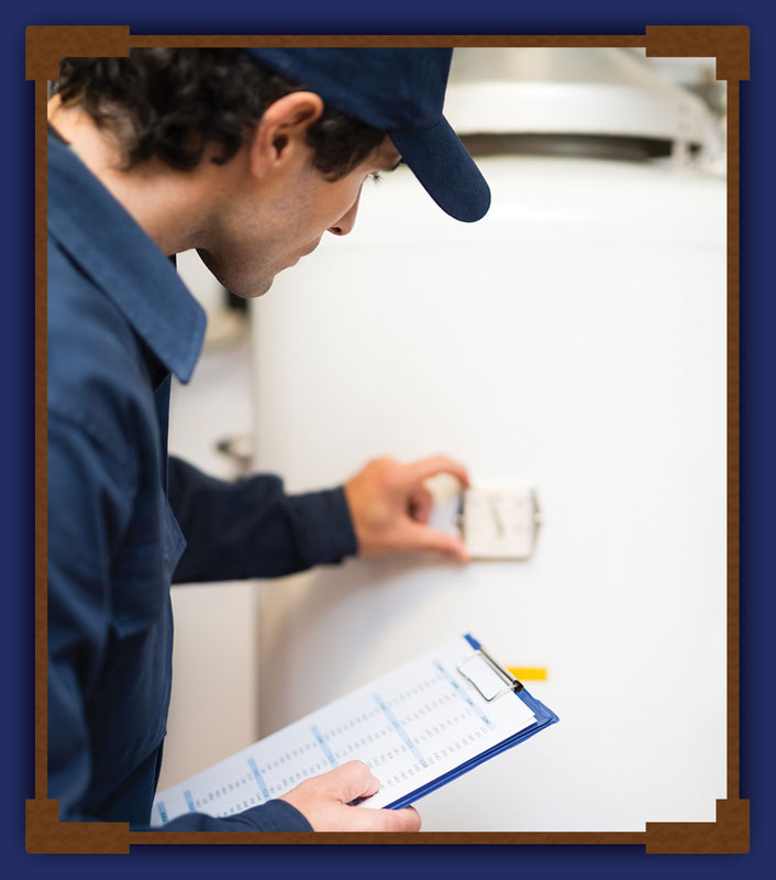 Aleck Plumber inspecting water heater